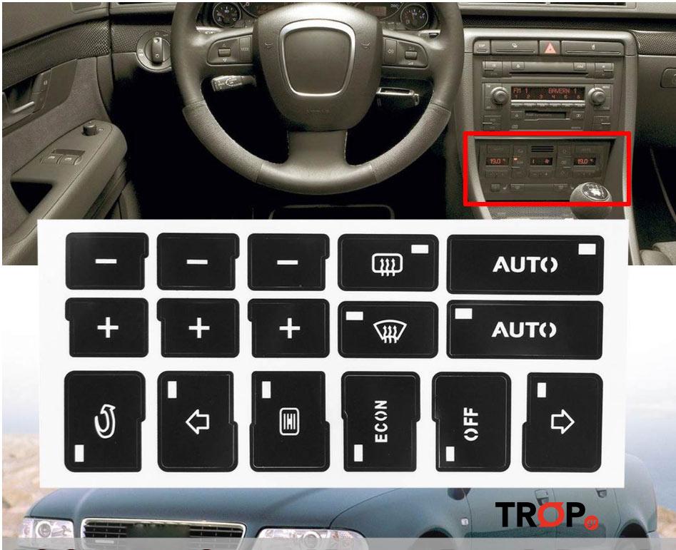 Audi A4 B6, B7 Αυτοκόλλητα Κουμπιών Climatronic (Μοντ: 2000+)