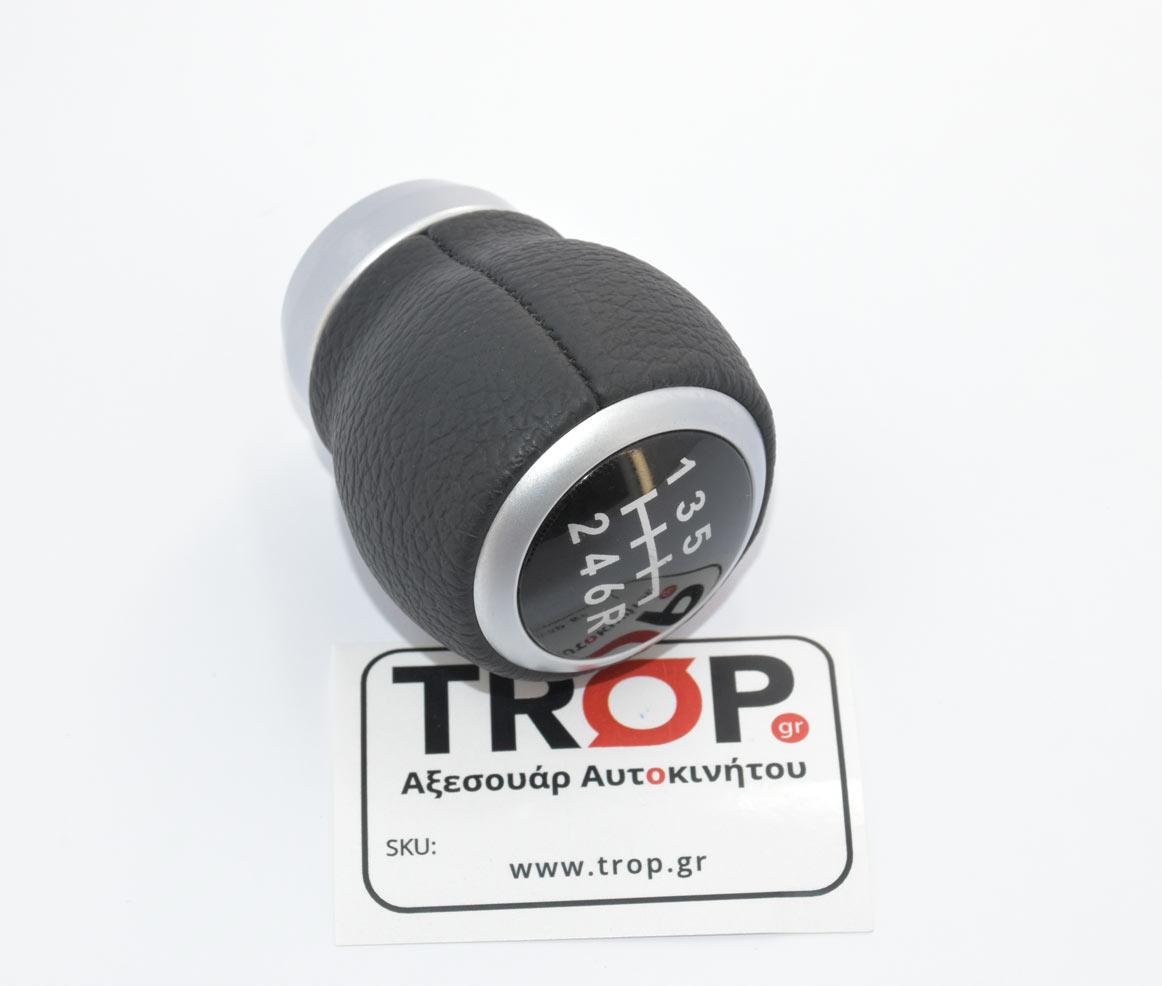Λεβιές Subaru, Υλικό:Μαύρο Δέρμα με Αλουμίνιο, Ένδειξη: 6 ταχύτητες + όπισθεν– Φωτογραφία από Trop.gr