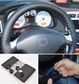 Universal Μαύρο Κάλυμμα Τιμονιού Αυτοκινήτου από Τεχνόδερμα