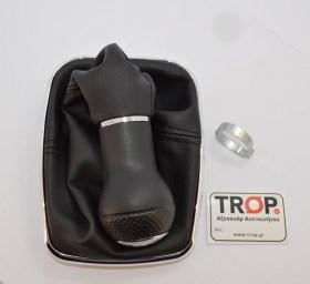 Πόμολο, δέρμα, πλαίσιο συγκράτησης δέρματος, νίκελ διακοσμητικό πλαίσιο και δακτύλιο σφιξίματος - Φωτογραφία τραβηγμένη από TROP.gr