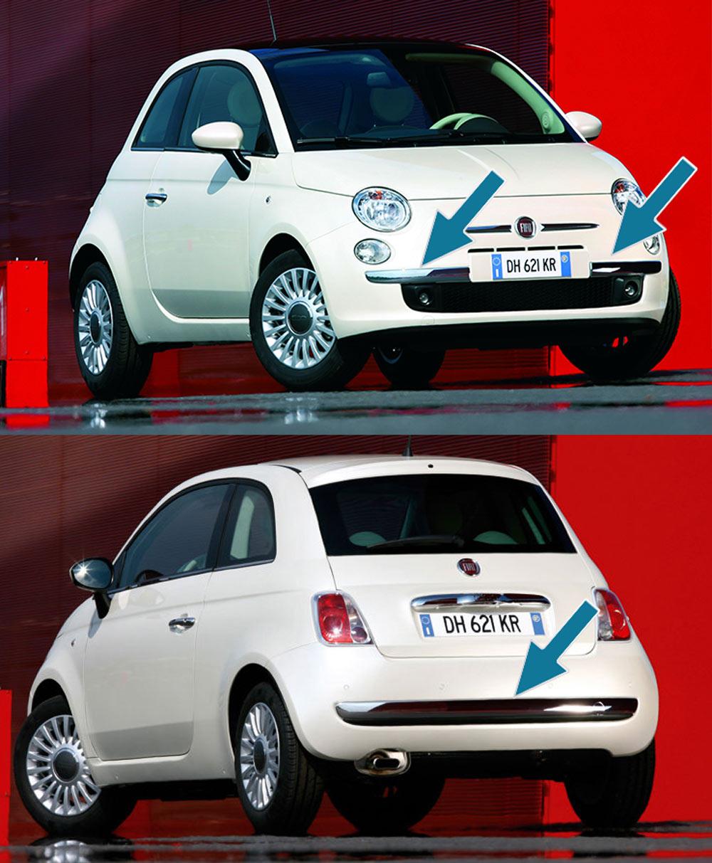 Διακοσμητικά Προφυλακτήρα Χρώμιο Μπροστά Πίσω για Fiat 500 (2007 έως 2015)