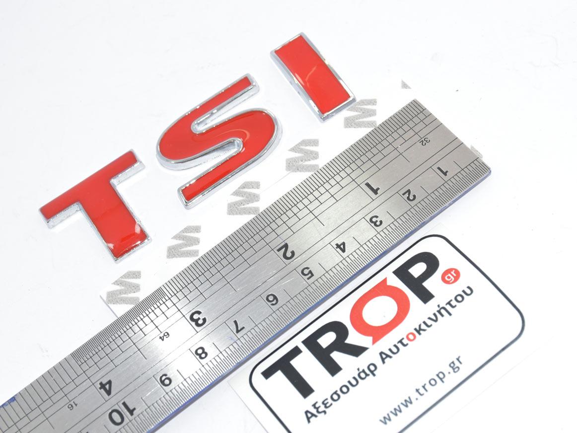 Μεταλλικό Αυτοκόλλητο Σήμα TSI για αυτοκινήτα VW Golf, Polo, Passat, Tiguan κα - Διαστάσεις – Φωτογραφία από Trop.gr