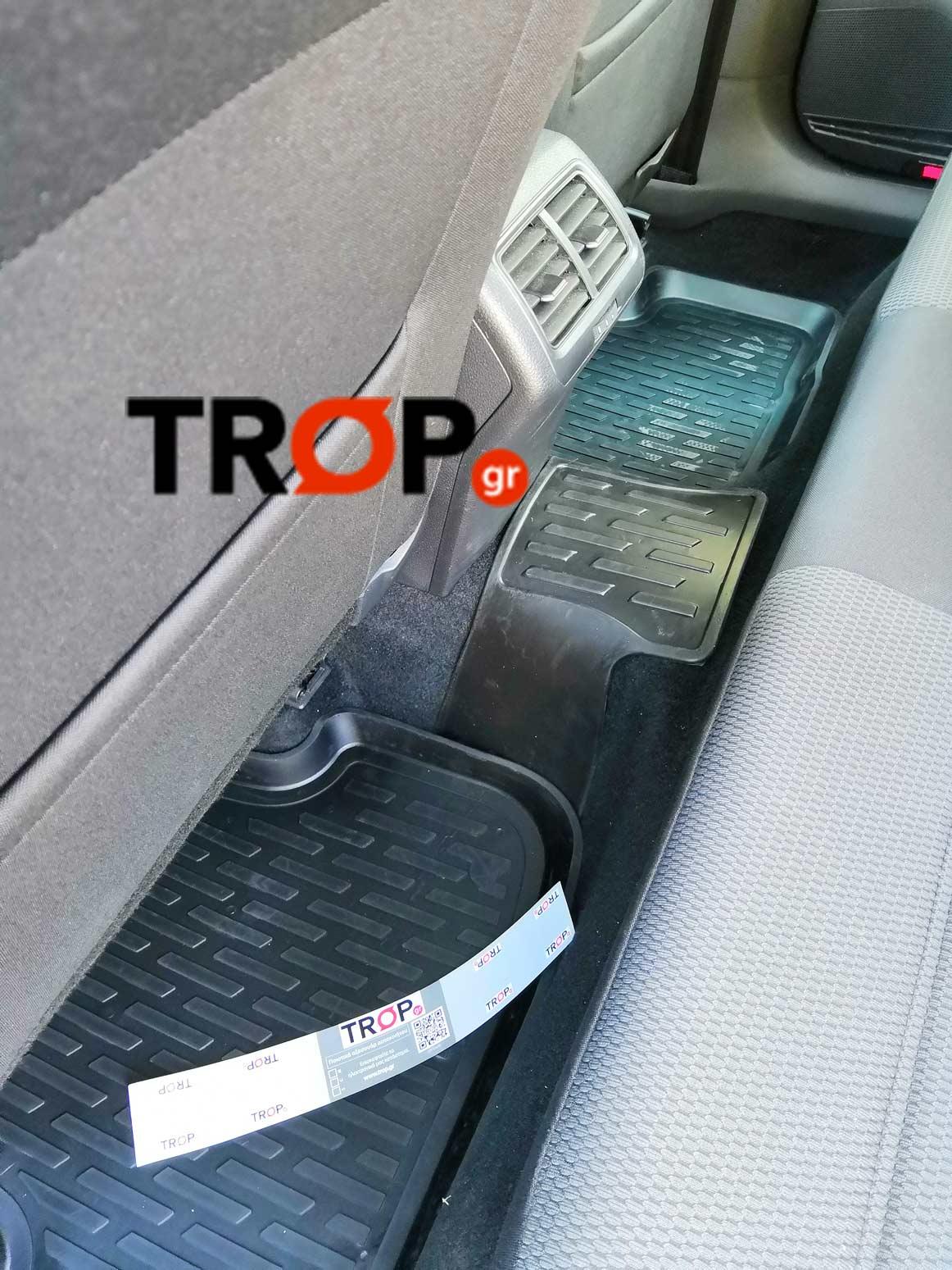 Πίσω λαστιχένια πατάκια-σκαφάκια σε αυτοκίνητο πελάτη μας - TROP.gr
